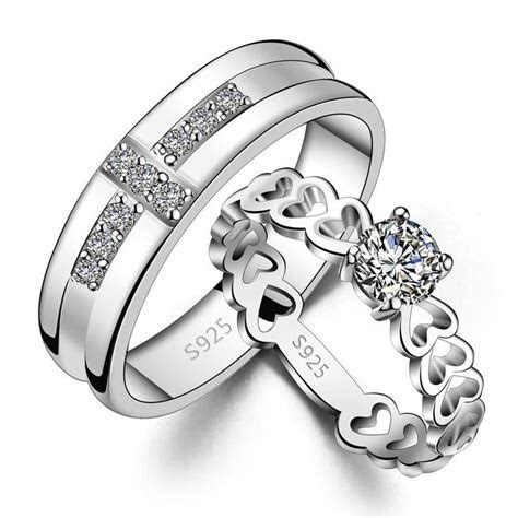 His & Hers Matching Couple Sterling Silver CZ Rings Set