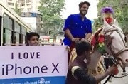 iPhone lover comes on horse with a band procession to get his iPhone X in Mumbai