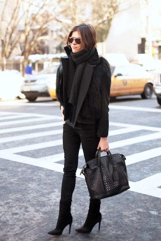 Le Fashion Blog Winter Street Style Emily Weiss Ribbed Scarf Fur Vest Black Coat Skinny Jeans Point Toe Heeled Ankle Boots Via Chicago Street Style