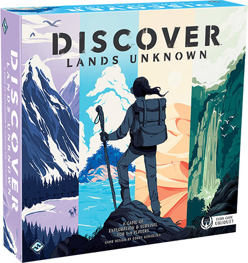 Solo or up to four players in Fantasy Flight's new Discover: Lands Unknown board game