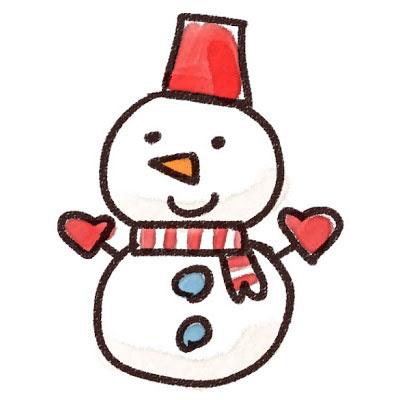 フリー素材 サンタさんのような格好をした雪だるまを描いたイラスト