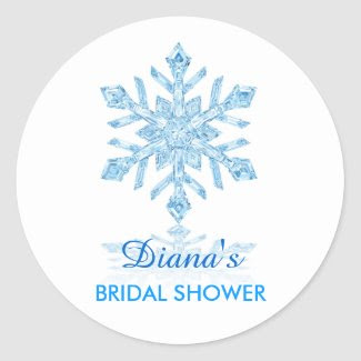 Glass Snowflake Winter Bridal Shower Favor Sticker