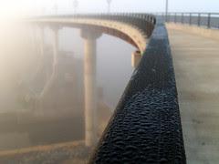 Big Dam Bridge and fog