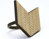 Chevron Wood Ring: Arrow or Chevron Geometric Design Made to Order in Any Size - DiamondsAreEvil