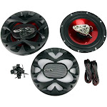Boss 6.5 Inch 300 Watt 3-Way Car Coaxial Audio Red Stereo Speakers CH6530 (Pair) by VM Express