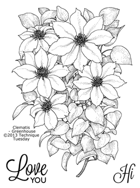 Technique-Tuesday-Greenhouse-Clematis-Clear-Stamps-Medium