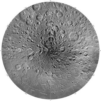 This image is part of a new series of high resolution images of the moon provided by the U.S. Geological Survey. This map of the moon's north polar region is based on data from the Lunar Reconnaissance Orbiter Wide Angle Camera. Photo: U.S. Geological Survey