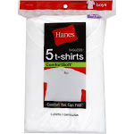 Hanes Boys' Crewneck Undershirt 5-Pack, White