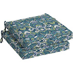 Arden Selections Sapphire Aurora Damask 21 x 21 in. Outdoor Dining Seat Cushion, Set of 2, Blue