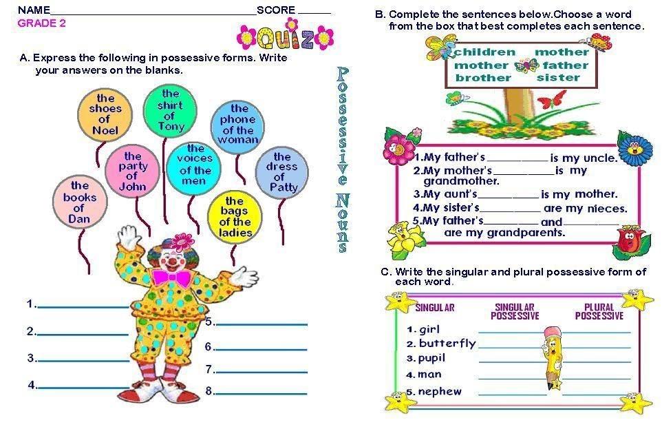 Grade 2 English Pronouns Worksheet