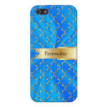 Baby Blue Satin & Gold Quatrefoil | DIY Name Cover For iPhone 5