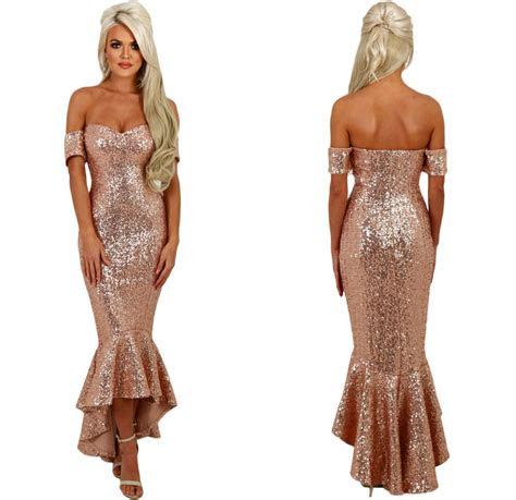 boutique  shoulder gold sequin mermaid fishtail party