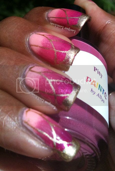 Lacquer Lockdown - Nailz Craze, NC01, butterflies, butterfly, nail art, Paints by Allya, Paints by Allya Automatic, Paints by Allya Pity, Adventures in Stamping, gradient nail art, sponging, China Glaze Passion, Essie Jamacian Me Crazy, indie polish, girly, cute, stamping