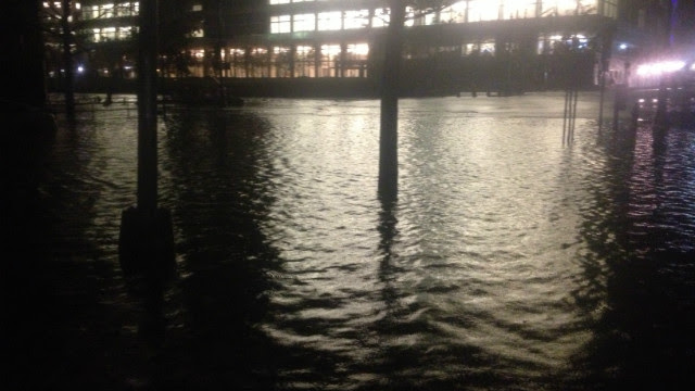 Superstorm Sandy dumped a lot of rain on West Side Highway in Manhattan, NY.