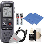 Sony Digital Voice Recorder ICD-PX Series, Built-in Mic, USB, 4GB Memory, Noise Cut for Noise-Free Recording + Cleaning Accessory