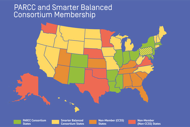 States with and without plans to assess student learning and the Common Core