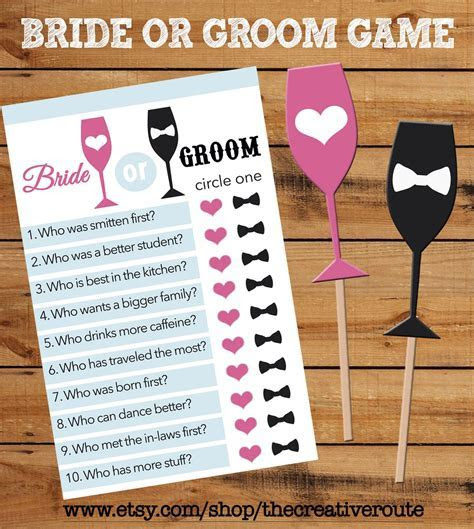 Bride or Groom Printable Game with matching props! Bridal
