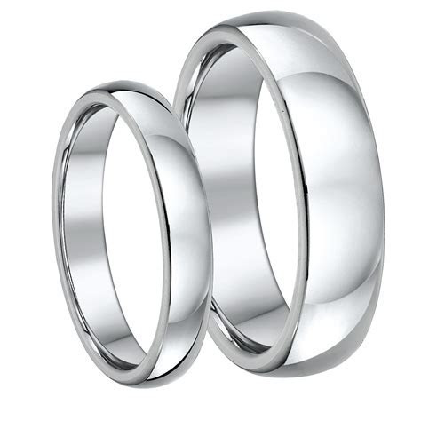 His & Hers Titanium Court Wedding Rings 4&6mm   Court