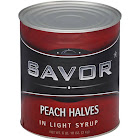 Savor 03724 Peach Halves in Light Syrup 6-10 Can