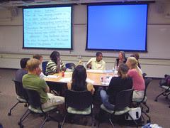ChaRandle Jordan facilitates a discussion for ...