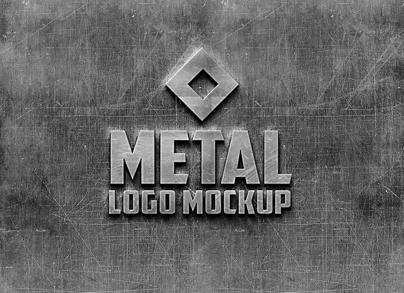 Free Photorealistic Metal Logo Mockup PSD - Good Mockups