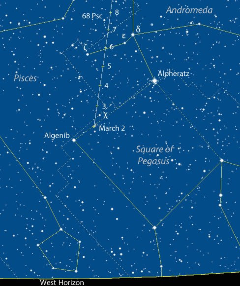 Map to help you find Comet C/2015 D1 SOHO March 2-8 around 7 p.m. (CST) and 8 p.m. CDT on March 8. Stars are shown to magnitude 6.5. Source: Chris Marriott's SkyMap