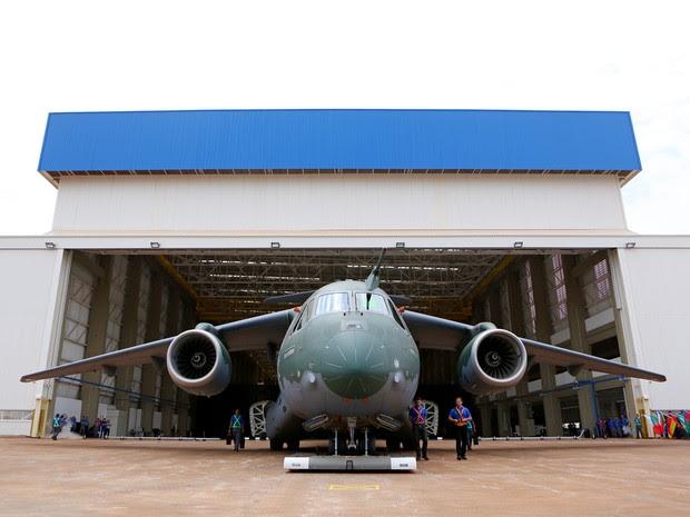 Embraer apresenta avião de transporte militar KC-390 em Gavião Peixoto, SP (Foto: Divulgação/ Embraer)