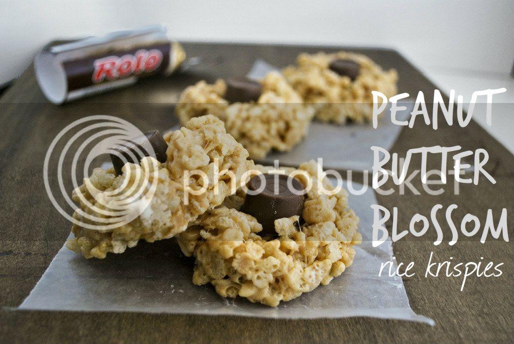 Peanut Butter Blossom Rice Krispy Treats