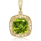 10k Yellow Gold Women's Cushion Green Peridot and Diamond Accent Pendant Necklace (2.45 Cttw, 8mm Center)