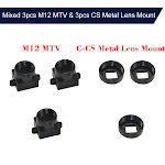 Anself Mixed 3pcs M12 MTV & 3pcs CS Metal Lens Mount CCTV Camera M12/CS Mount Lens Holder Supports Bracket PCB Board Module Adapter Connector,3,black