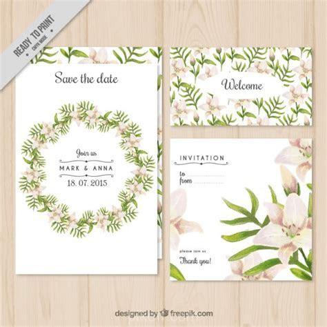 [Ai] Floral wreath wedding invitation vector free download