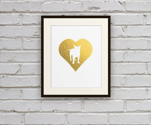 Boston Terrier Dog Cameo Silhouette Art Print - Faux Gold Foil Matte Pet Wall Art for Nursery, Office, Home Decor