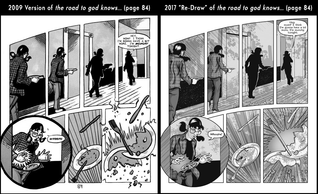 Comparison between page 84 from the 2009 published version of the road to god knows... and the 2017 redrawn version by Von Allan