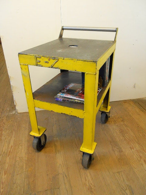 Yellow Industrial Metal Bar Cart