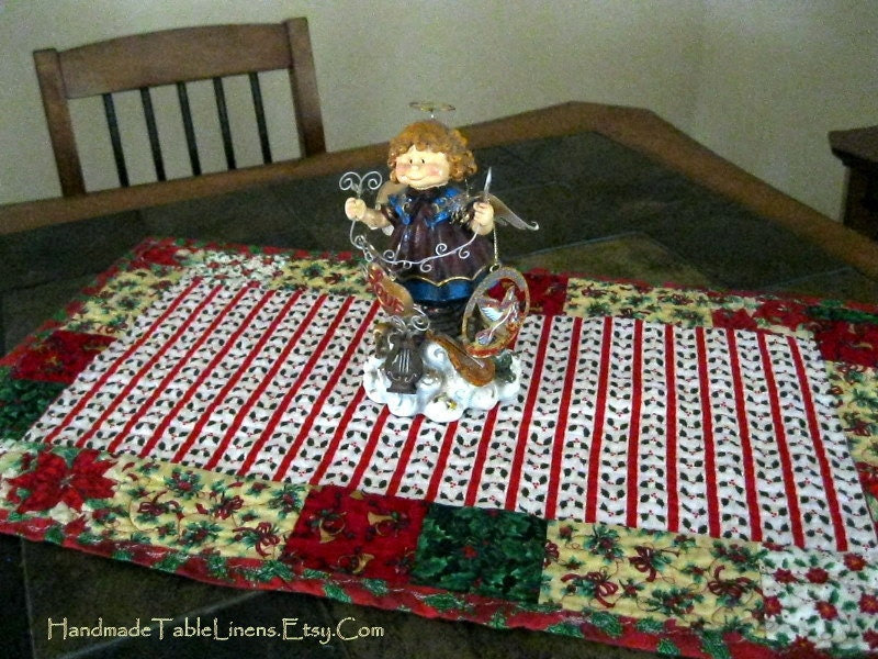 Christmas table Runner Table Linens Quilted by HandmadeTableLinens