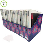 "Evelots Magazine File Holder-Organizer-Full 4"" W-Purple Mandala-W/Labels-Set/6"