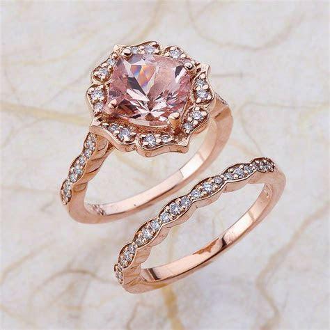 Vintage Bridal Set Morganite Engagement Ring and Scalloped