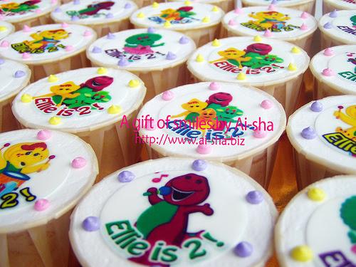 Birthday Cupcake Edible Image Barney Ai-sha Puchong Jaya