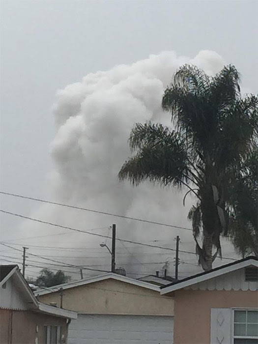 Smoke is seen after an explosion at the Exxon Mobil refinery in Torrance in this photo from ABC7 viewer Jeffery Smith. <span class=meta>ABC7 viewer Jeffery Smith</span>