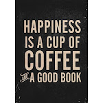 Happiness is a cup of coffee and a good book, vintage typography illustration, for libraries, pub Pillow Sham by Stefanoreves - KING SET OF 2