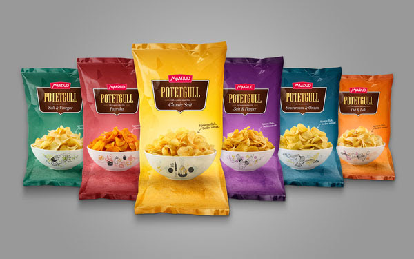 Maarud Potetgull Classic Potato Chips 30+ Crispy Potato Chips Packaging Design Ideas
