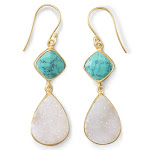 White Druzy and Stabilized Turquoise Earrings Gold-Plated Sterling Silver