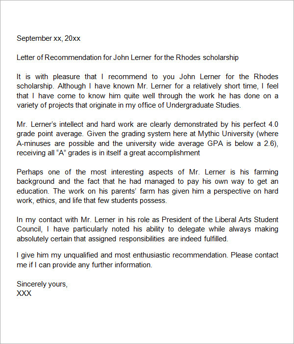 Sample Letter of Recommendation for Scholarship - 10+ Free ...