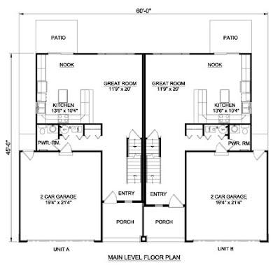 2 Bedroom 1 Bath Apartment Plans