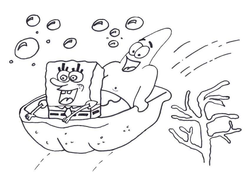 Bob Esponja Y Patricio Navegando Dibujos Para Colorear