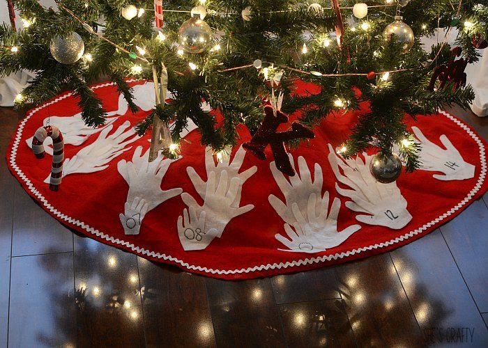 homemade tree skirt kids hands