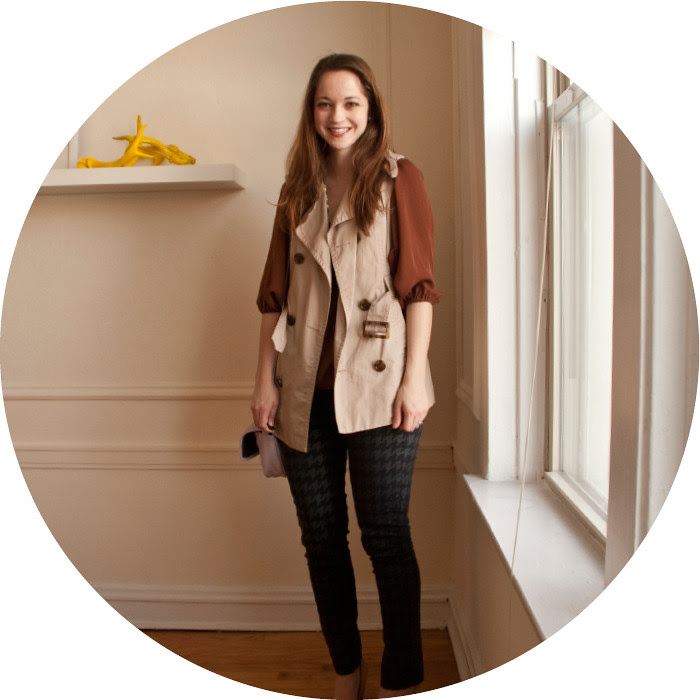 trench vest friday, dash dot dotty, ootd, blog outfits, houndstooth jeans, casual friday, what to wear, yellow suede heels, rust, layers