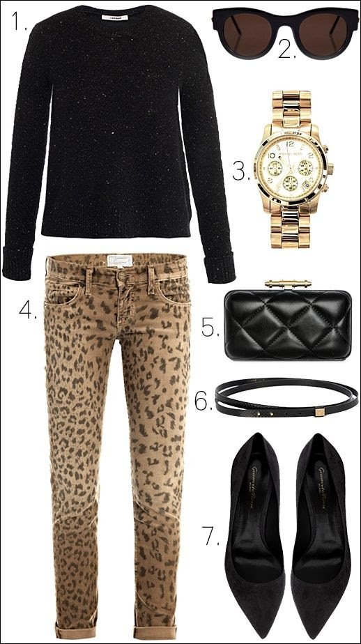 LE FASHION BLOG OUTFIT COLLAGE J Brand Aldrara Leather Knit Thierry Lasry Punchy Sunglasses Michael Kors Chronograph Watch Diane Von Furstenberg Haley Snake Belt Givenchy Quilted Leather Clutch Current Elliott Leopard Corduroy Jeans Gianvito Rossi Suede Pumps