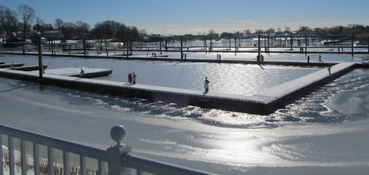 The frozen Milford Harbor is an incredible sight!