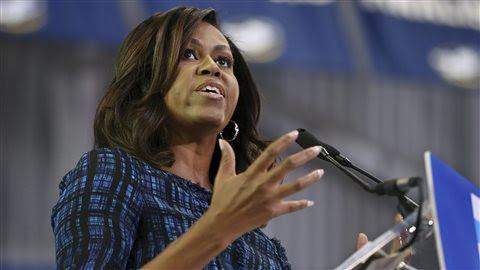 Michelle Obama, à Philadelphie, devant un parterre d'étudiants à l'Université LaSalle